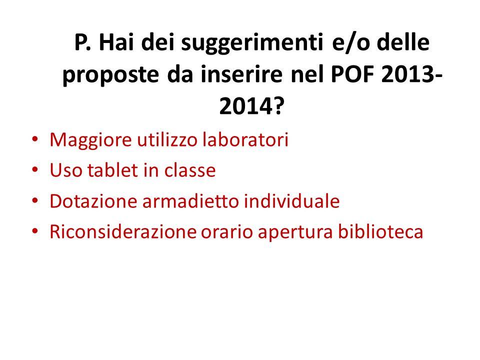 P. Hai dei suggerimenti e/o delle proposte da inserire nel POF 2013- 2014.