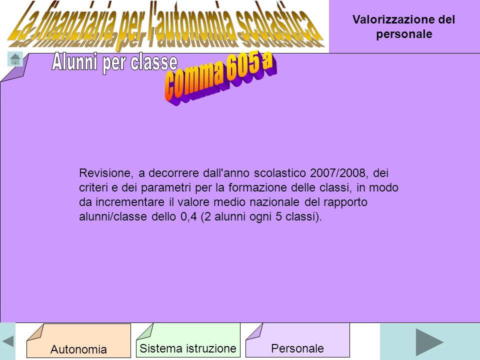 Revisione, a decorrere dall anno scolastico 2007/2008, dei criteri e dei parametri per la formazione delle classi, in modo da incrementare il valore medio nazionale del rapporto alunni/classe dello 0,4 (2 alunni ogni 5 classi).