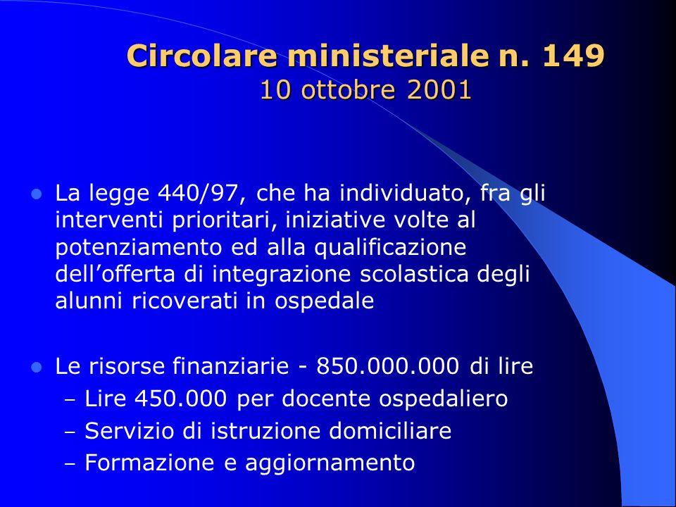 Circolare ministeriale n. 149 10 ottobre 2001 La legge 440/97, che ha individuato, fra gli interventi prioritari, iniziative volte al potenziamento ed