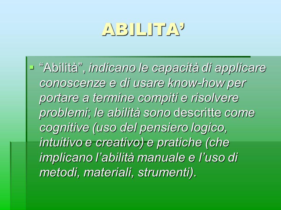 ABILITA Abilità, indicano le capacità di applicare conoscenze e di usare know-how per portare a termine compiti e risolvere problemi; le abilità sono