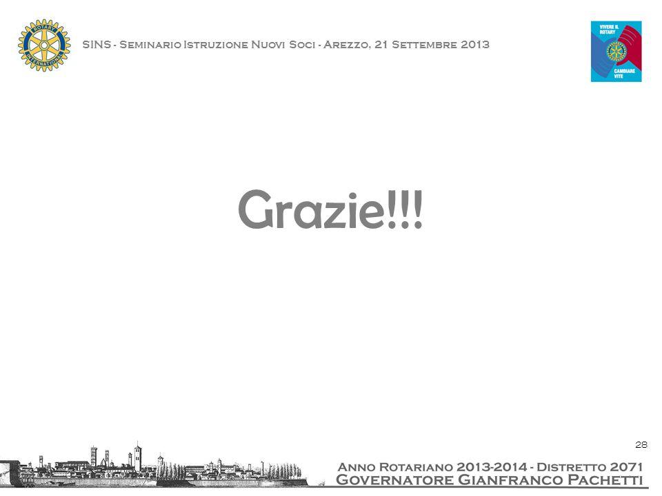 Grazie!!! SINS - Seminario Istruzione Nuovi Soci - Arezzo, 21 Settembre 2013 28