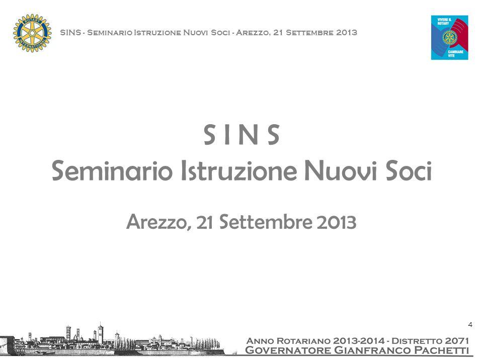 S I N S Seminario Istruzione Nuovi Soci Arezzo, 21 Settembre 2013 4
