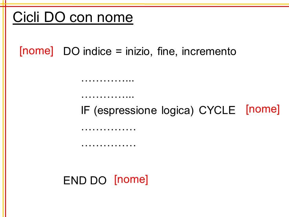 Cicli DO con nome DO indice = inizio, fine, incremento …………... IF (espressione logica) CYCLE …………… END DO [nome]