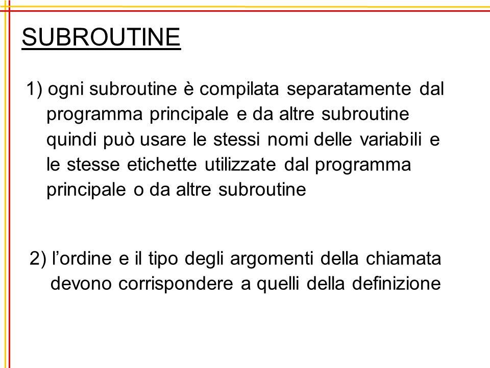 SUBROUTINE 1) ogni subroutine è compilata separatamente dal programma principale e da altre subroutine quindi può usare le stessi nomi delle variabili