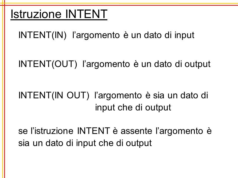 Istruzione INTENT INTENT(IN) largomento è un dato di input INTENT(OUT) largomento è un dato di output INTENT(IN OUT) largomento è sia un dato di input
