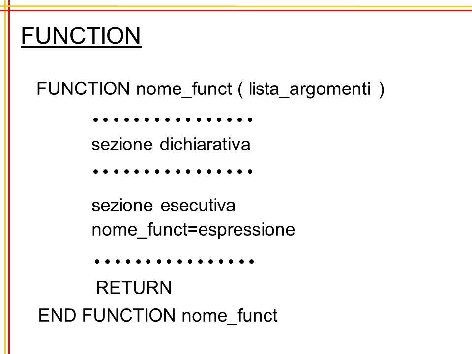 FUNCTION FUNCTION nome_funct ( lista_argomenti ) sezione esecutiva nome_funct=espressione sezione dichiarativa RETURN END FUNCTION nome_funct