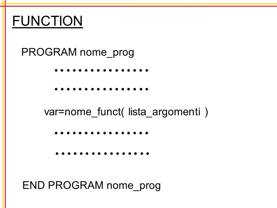 PROGRAM nome_prog var=nome_funct( lista_argomenti ) END PROGRAM nome_prog FUNCTION