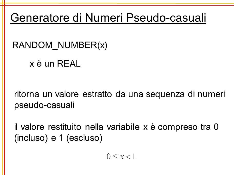 Generatore di Numeri Pseudo-casuali RANDOM_NUMBER(x) x è un REAL ritorna un valore estratto da una sequenza di numeri pseudo-casuali il valore restitu
