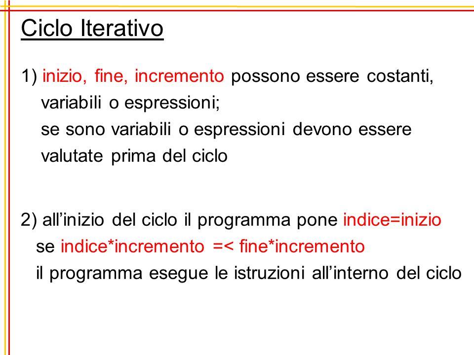 Ciclo Iterativo 1) inizio, fine, incremento possono essere costanti, variabili o espressioni; se sono variabili o espressioni devono essere valutate p
