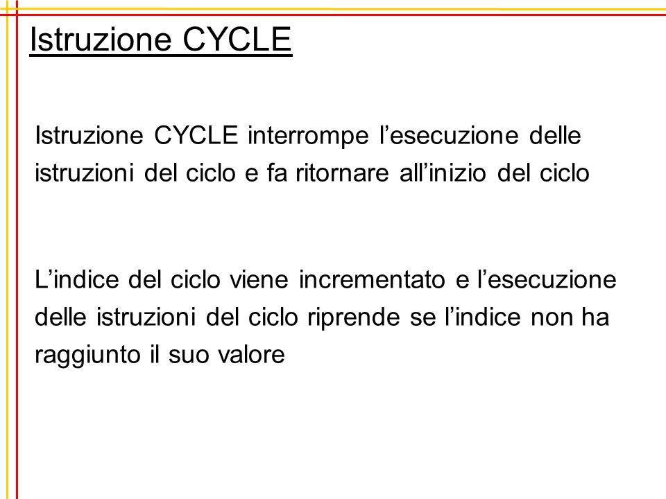 Istruzione CYCLE (esempio) PROBLEM esempio INTEGER :: I DO i=1,10 IF ( i == 3 ) CYCLE WRITE(*,*) i END DO END PROGRAM esempio Si stampano tutti i numeri interi compresi tra 1 e 10 Escluso il numero 3