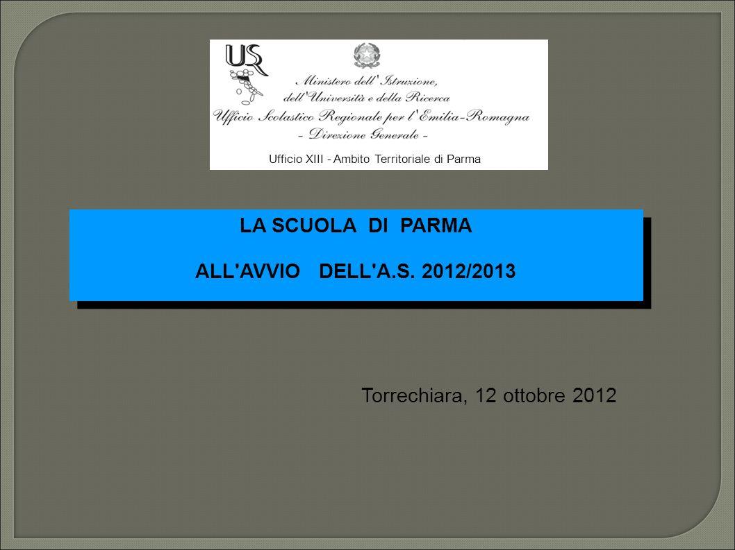LA SCUOLA DI PARMA ALL AVVIO DELL A.S. 2012/2013 LA SCUOLA DI PARMA ALL AVVIO DELL A.S.