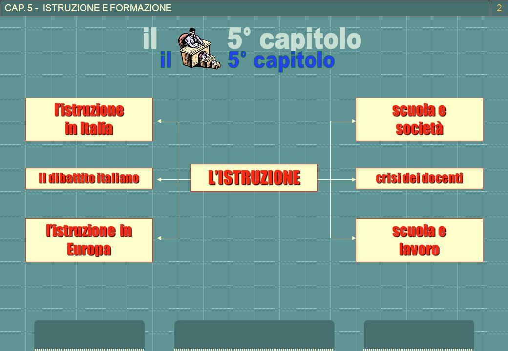 CAP. 5 - ISTRUZIONE E FORMAZIONE crisi dei docenti Il dibattito italiano LISTRUZIONE listruzione in Italia listruzione in Europa scuola e società lavo