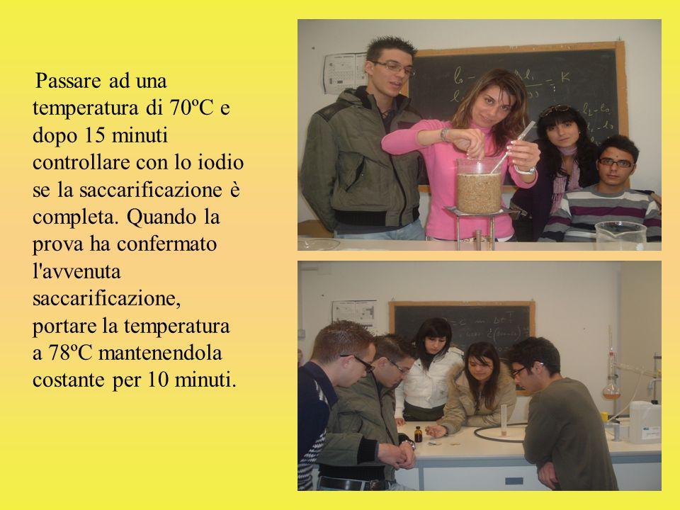 Passare ad una temperatura di 70ºC e dopo 15 minuti controllare con lo iodio se la saccarificazione è completa. Quando la prova ha confermato l'avvenu