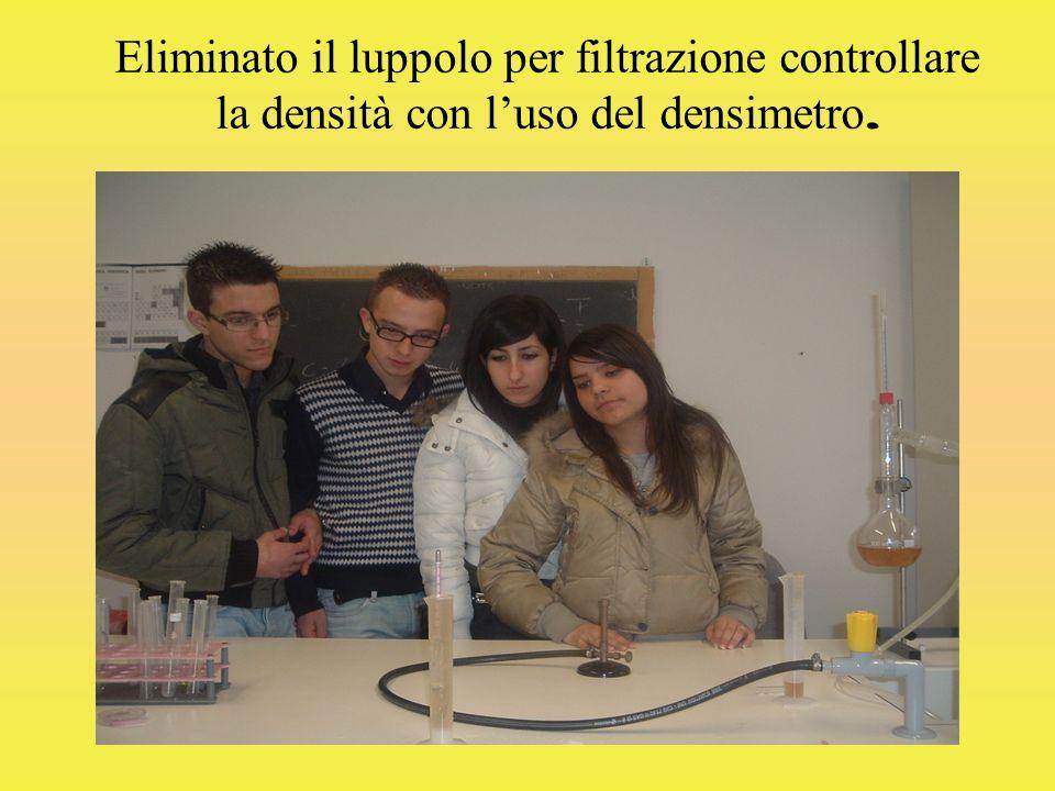 Eliminato il luppolo per filtrazione controllare la densità con luso del densimetro.