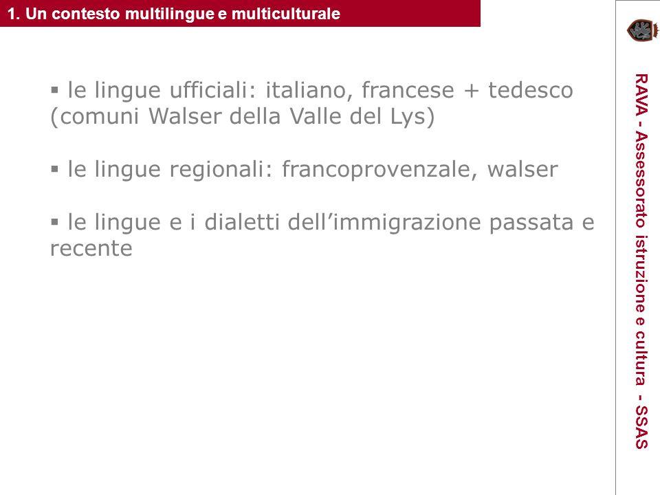 le lingue ufficiali: italiano, francese + tedesco (comuni Walser della Valle del Lys) le lingue regionali: francoprovenzale, walser le lingue e i dialetti dellimmigrazione passata e recente 1.