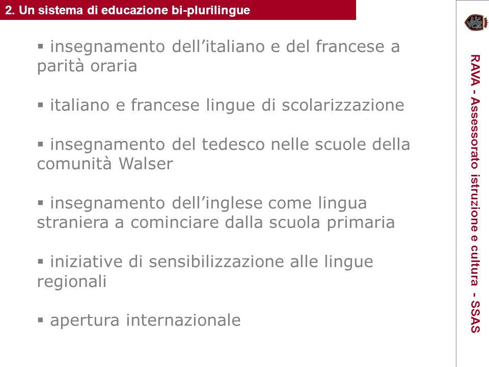 insegnamento dellitaliano e del francese a parità oraria italiano e francese lingue di scolarizzazione insegnamento del tedesco nelle scuole della comunità Walser insegnamento dellinglese come lingua straniera a cominciare dalla scuola primaria iniziative di sensibilizzazione alle lingue regionali apertura internazionale 2.