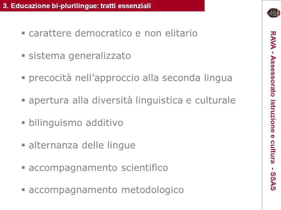 carattere democratico e non elitario sistema generalizzato precocità nellapproccio alla seconda lingua apertura alla diversità linguistica e culturale