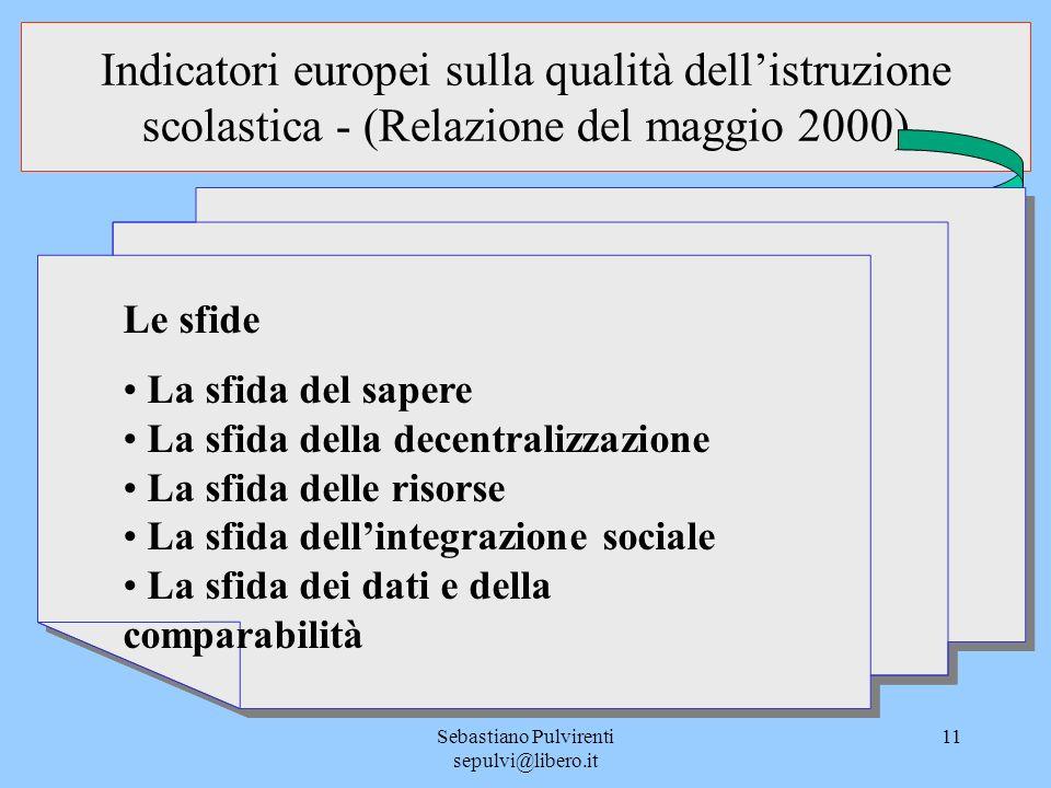 Sebastiano Pulvirenti sepulvi@libero.it 11 Indicatori europei sulla qualità dellistruzione scolastica - (Relazione del maggio 2000) Le sfide La sfida