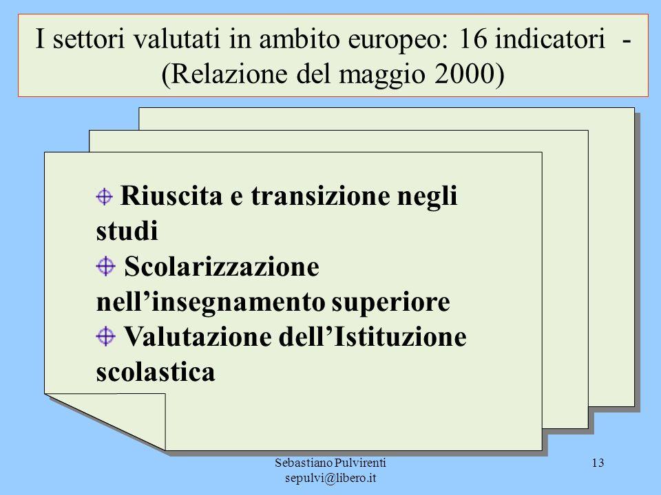 Sebastiano Pulvirenti sepulvi@libero.it 13 I settori valutati in ambito europeo: 16 indicatori - (Relazione del maggio 2000) Riuscita e transizione ne