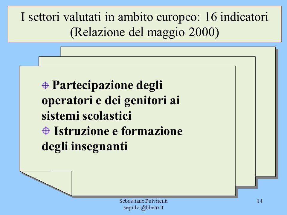 Sebastiano Pulvirenti sepulvi@libero.it 14 I settori valutati in ambito europeo: 16 indicatori (Relazione del maggio 2000) Partecipazione degli operat