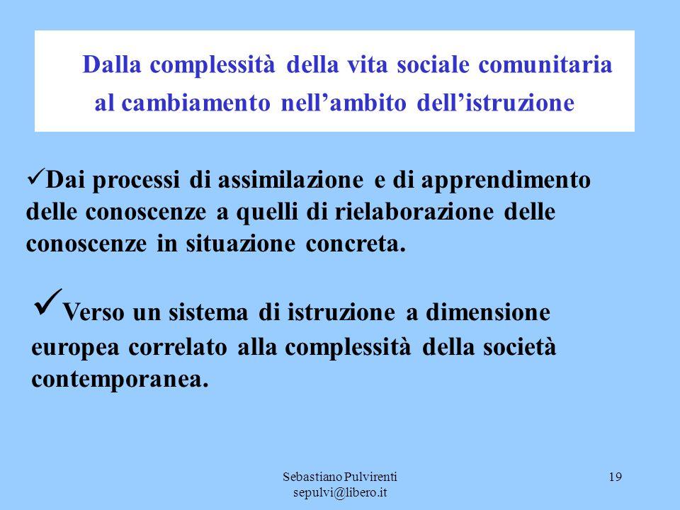 Sebastiano Pulvirenti sepulvi@libero.it 19 Dalla complessità della vita sociale comunitaria al cambiamento nellambito dellistruzione Dai processi di a