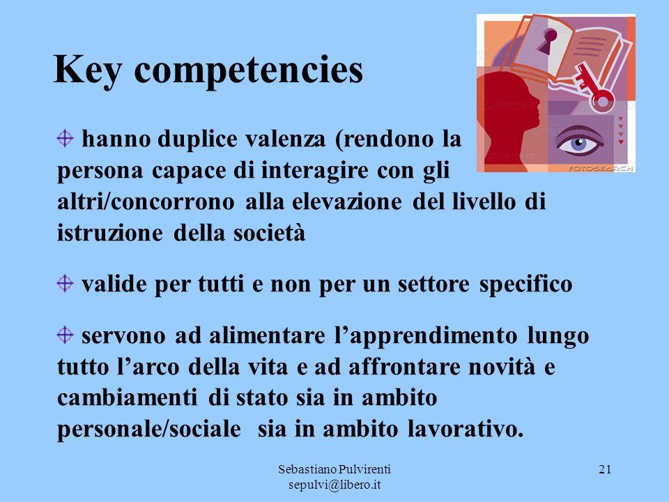 Sebastiano Pulvirenti sepulvi@libero.it 21 Key competencies hanno duplice valenza (rendono la persona capace di interagire con gli altri/concorrono al