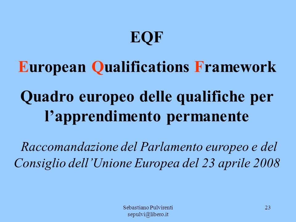 Sebastiano Pulvirenti sepulvi@libero.it 23 EQF European Qualifications Framework Quadro europeo delle qualifiche per lapprendimento permanente Raccomandazione del Parlamento europeo e del Consiglio dellUnione Europea del 23 aprile 2008