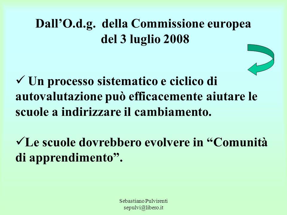 Sebastiano Pulvirenti sepulvi@libero.it DallO.d.g. della Commissione europea del 3 luglio 2008 Un processo sistematico e ciclico di autovalutazione pu