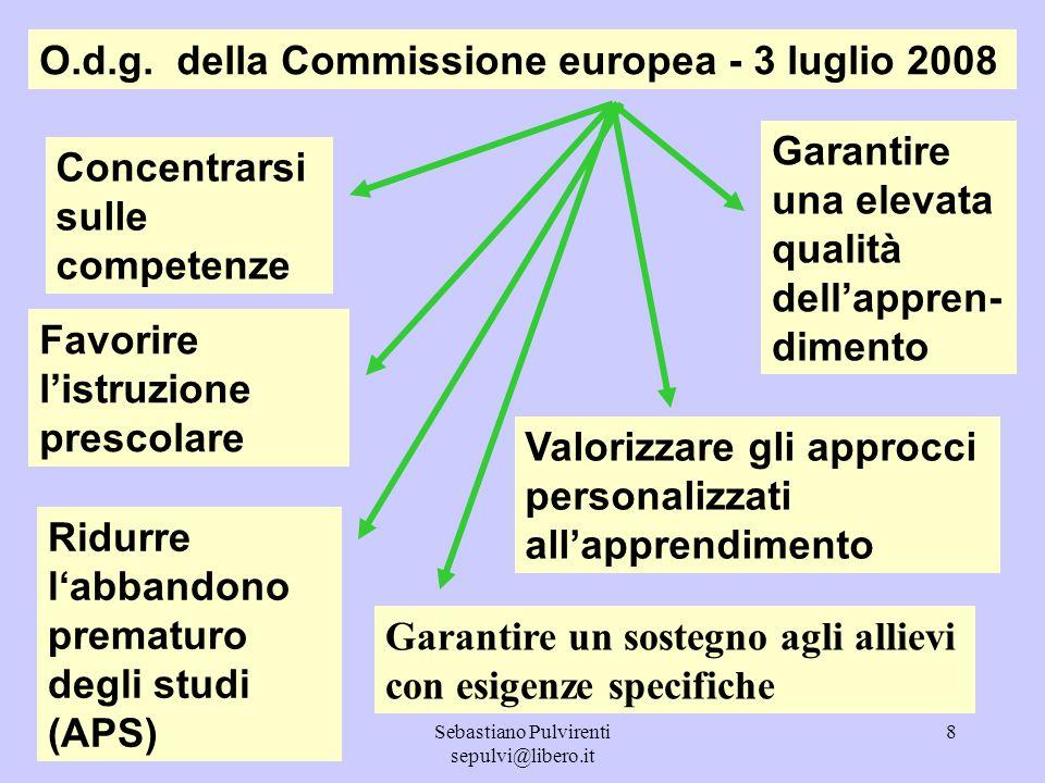Sebastiano Pulvirenti sepulvi@libero.it 8 O.d.g. della Commissione europea - 3 luglio 2008 Concentrarsi sulle competenze Ridurre labbandono prematuro