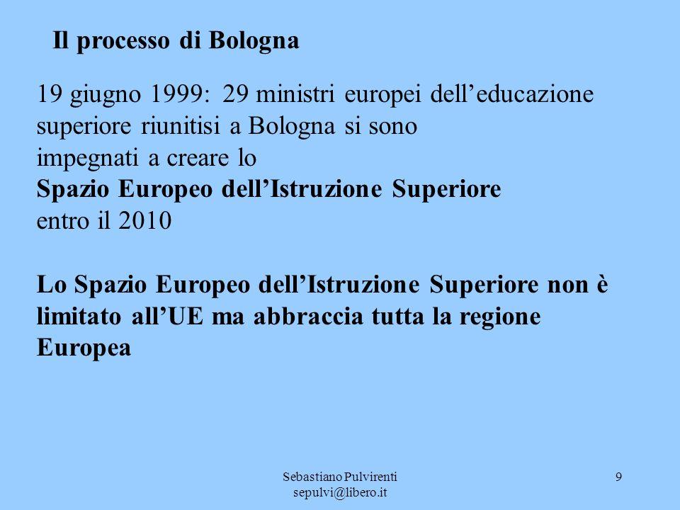 Sebastiano Pulvirenti sepulvi@libero.it 9 Il processo di Bologna 19 giugno 1999: 29 ministri europei delleducazione superiore riunitisi a Bologna si sono impegnati a creare lo Spazio Europeo dellIstruzione Superiore entro il 2010 Lo Spazio Europeo dellIstruzione Superiore non è limitato allUE ma abbraccia tutta la regione Europea