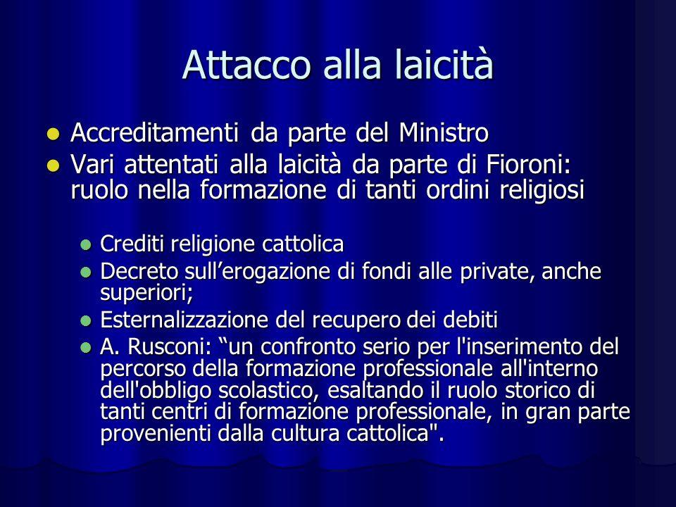 Ambiguità del centro sinistra Fioroni ha giudicato i percorsi sperimentali avviati dalla Moratti fin dal 2003: una direzione di marcia promettente .