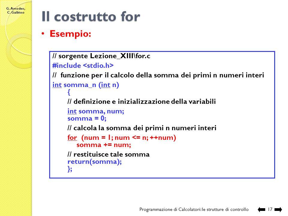 G. Amodeo, C. Gaibisso Il costrutto for Programmazione di Calcolatori: le strutture di controllo16 Comportamento: Inizializzazione espressione 0 blocc