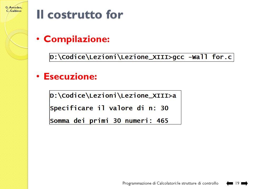 G. Amodeo, C. Gaibisso Il costrutto for Programmazione di Calcolatori: le strutture di controllo18 // chiamante int main () { // definizione e acquisi