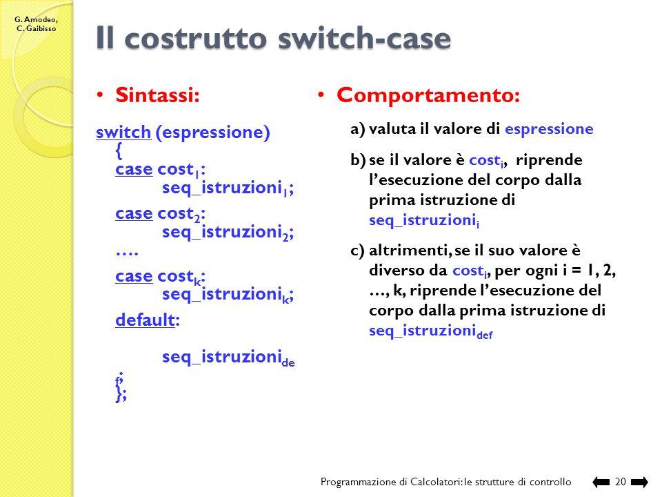 G. Amodeo, C. Gaibisso Il costrutto for Programmazione di Calcolatori: le strutture di controllo19 Compilazione: Esecuzione: