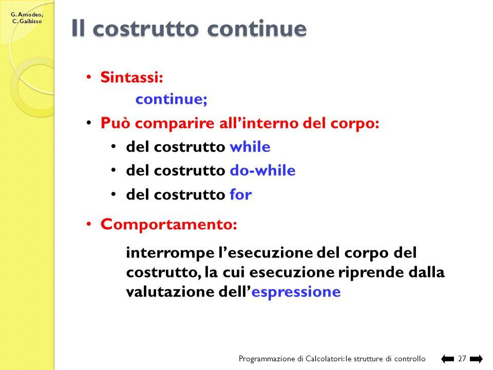 G. Amodeo, C. Gaibisso I costrutti switch-case e break Programmazione di Calcolatori: le strutture di controllo26 Compilazione: Esecuzione: