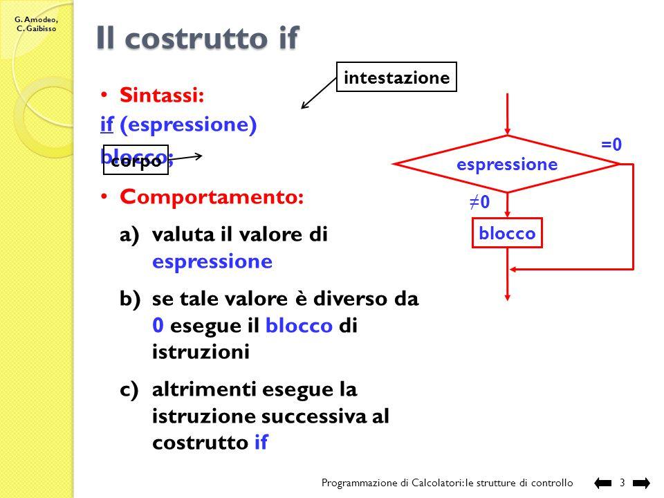 G. Amodeo, C. Gaibisso Le Strutture di Controllo Programmazione di Calcolatori: le strutture di controllo2 Strutture di Controllo: alterano lordine se