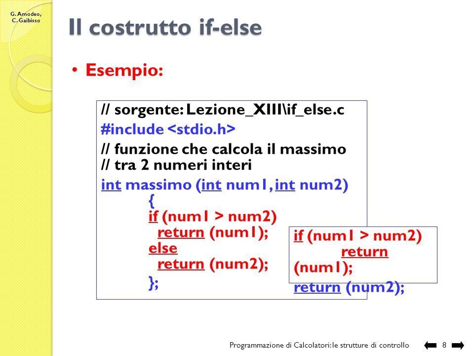 G. Amodeo, C. Gaibisso Il costrutto if-else Programmazione di Calcolatori: le strutture di controllo7 Sintassi: if(espressione) blocco 1 ; else blocco
