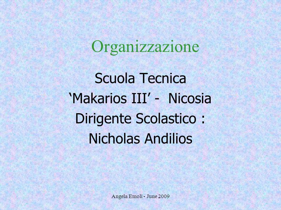 Angela Emoli - June 2009 Organizzazione Scuola Tecnica Makarios III - Nicosia Dirigente Scolastico : Nicholas Andilios