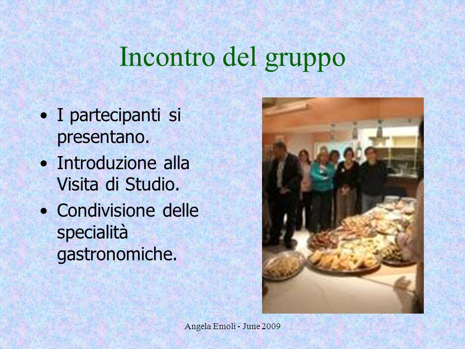 Angela Emoli - June 2009 I partecipanti si presentano. Introduzione alla Visita di Studio. Condivisione delle specialità gastronomiche. Incontro del g