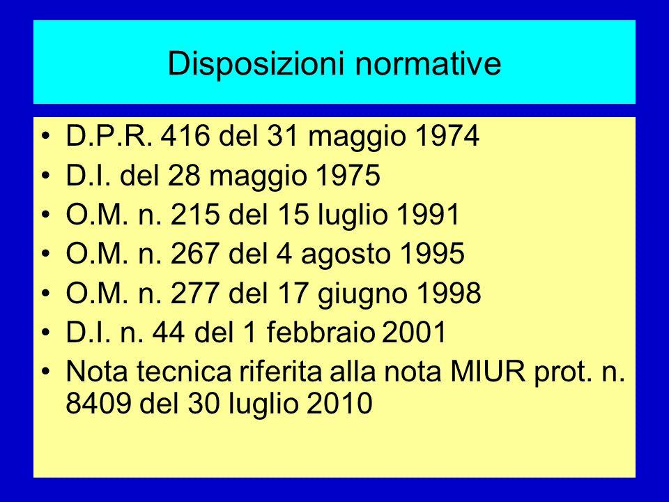 Disposizioni normative D.P.R. 416 del 31 maggio 1974 D.I. del 28 maggio 1975 O.M. n. 215 del 15 luglio 1991 O.M. n. 267 del 4 agosto 1995 O.M. n. 277