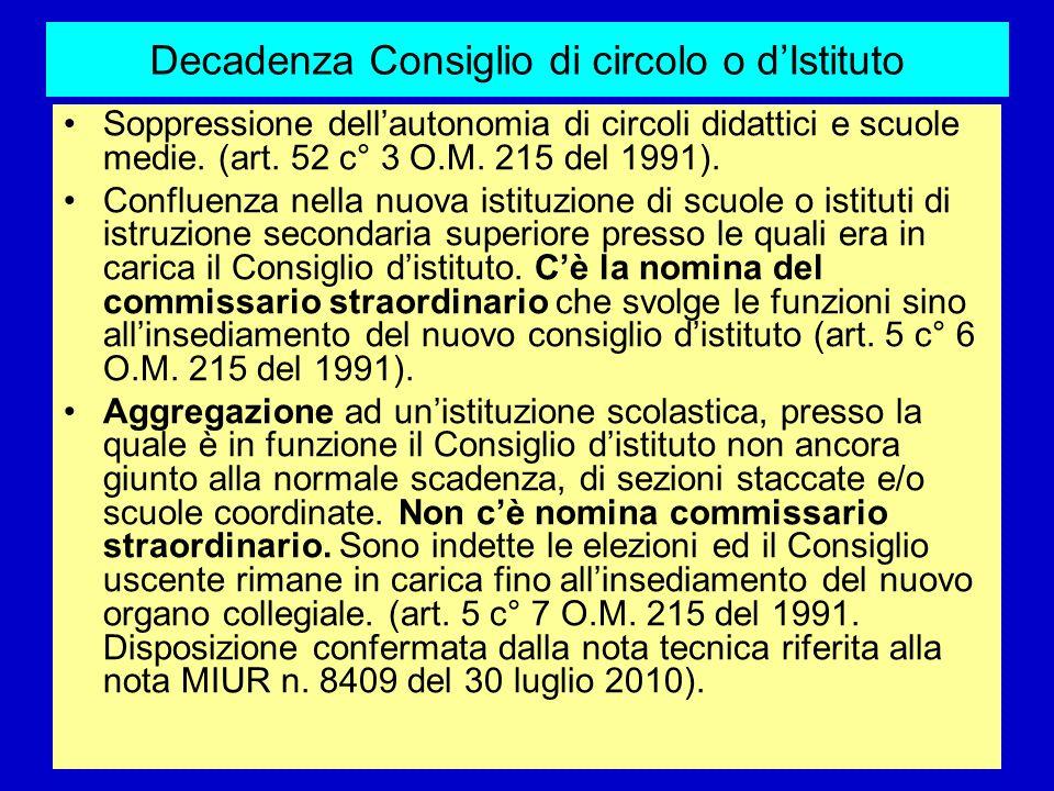 Decadenza Consiglio di circolo o dIstituto Soppressione dellautonomia di circoli didattici e scuole medie. (art. 52 c° 3 O.M. 215 del 1991). Confluenz