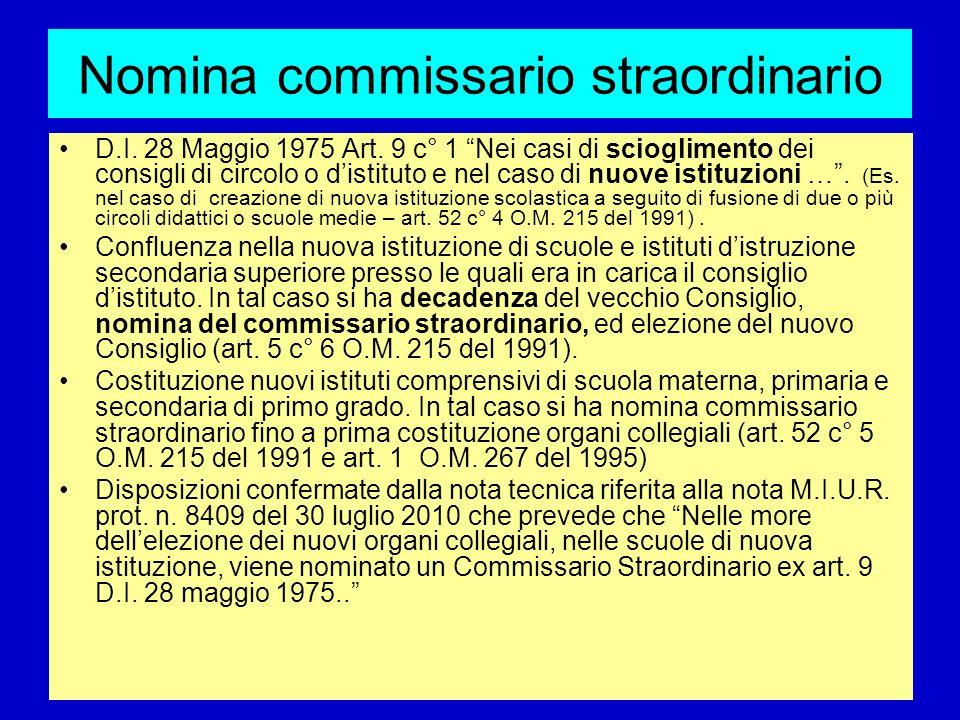 Nomina commissario straordinario D.I. 28 Maggio 1975 Art. 9 c° 1 Nei casi di scioglimento dei consigli di circolo o distituto e nel caso di nuove isti