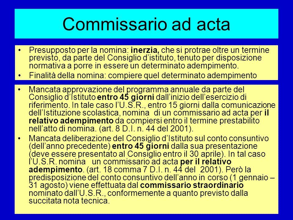 Commissario ad acta Mancata approvazione del programma annuale da parte del Consiglio dIstituto entro 45 giorni dallinizio dellesercizio di riferiment