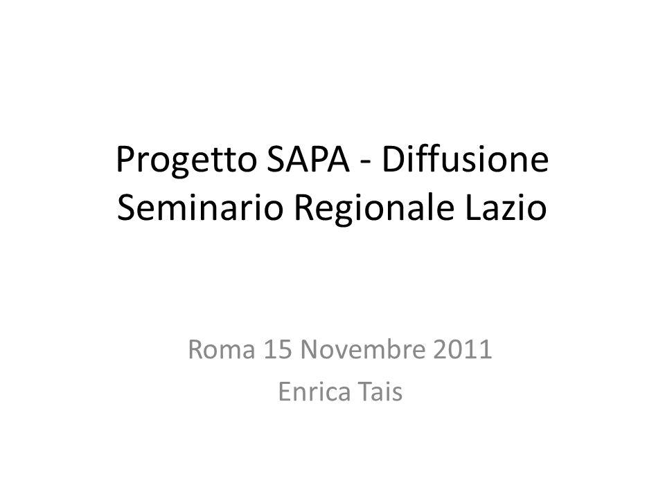 Progetto SAPA - Diffusione Seminario Regionale Lazio Roma 15 Novembre 2011 Enrica Tais