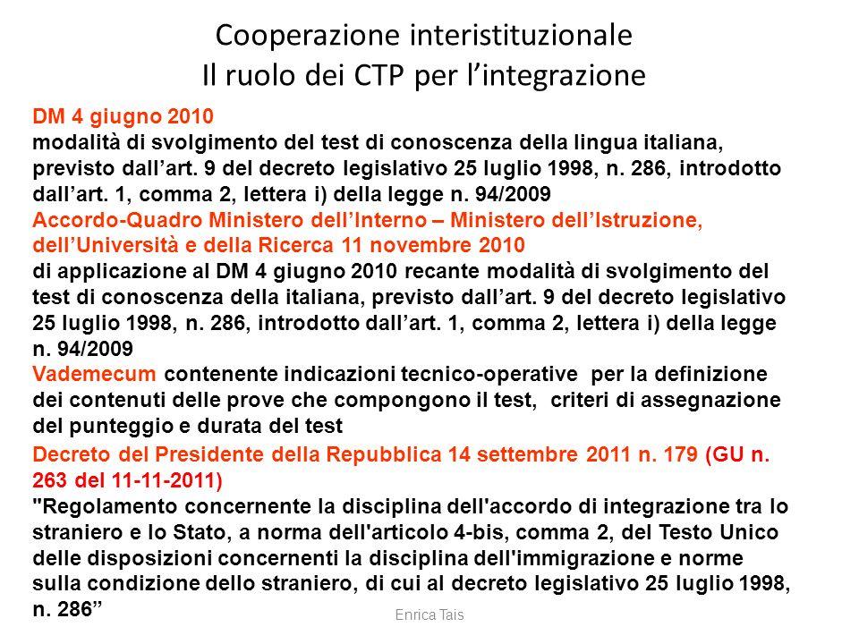 Cooperazione interistituzionale Il ruolo dei CTP per lintegrazione DM 4 giugno 2010 modalità di svolgimento del test di conoscenza della lingua italia