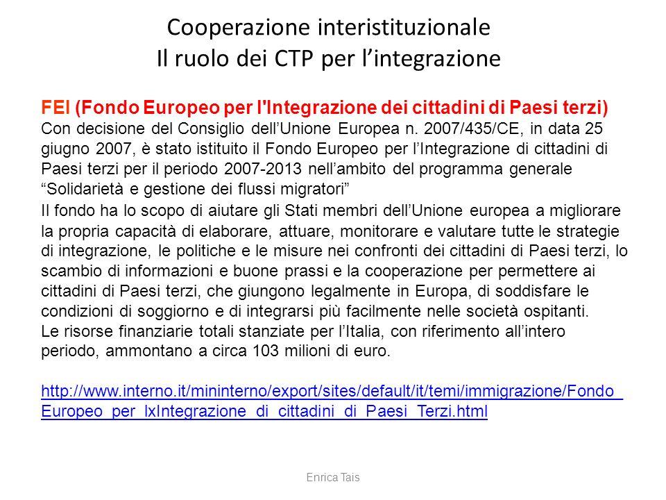 FEI (Fondo Europeo per l'Integrazione dei cittadini di Paesi terzi) Con decisione del Consiglio dellUnione Europea n. 2007/435/CE, in data 25 giugno 2