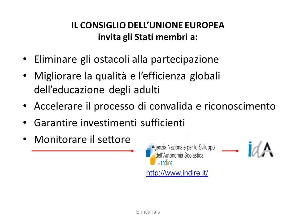IL CONSIGLIO DELLUNIONE EUROPEA invita gli Stati membri a: Eliminare gli ostacoli alla partecipazione Migliorare la qualità e lefficienza globali dell