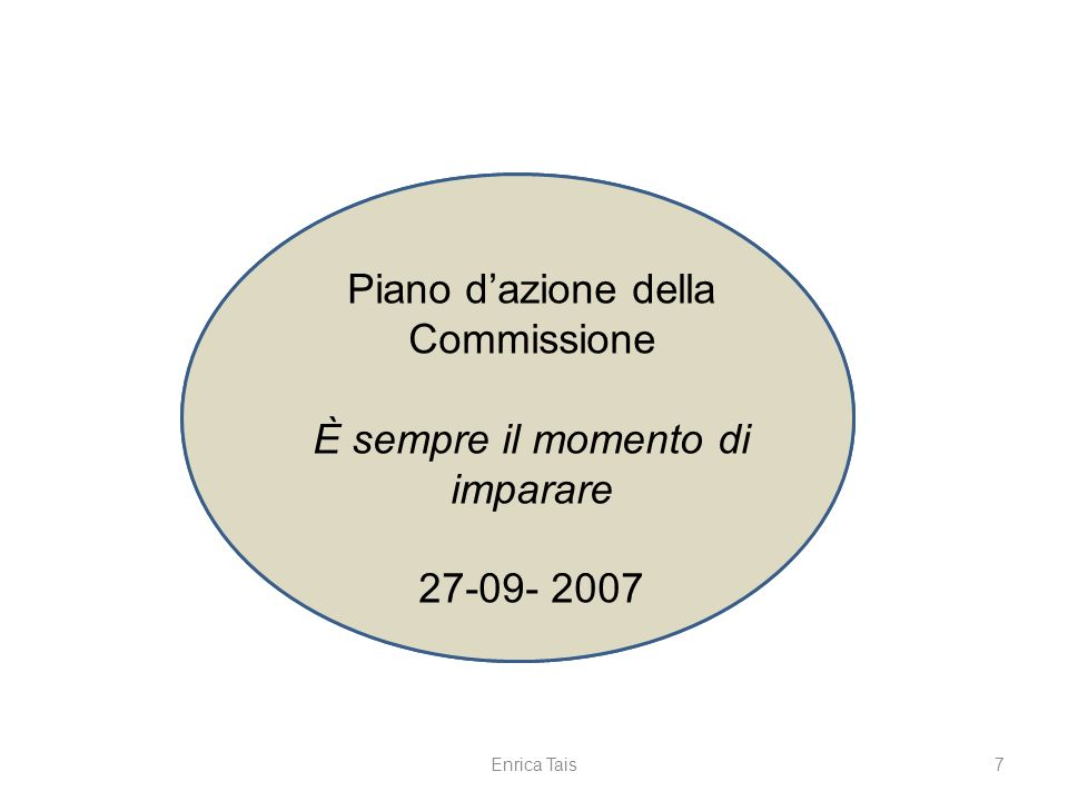 7 Comunicazione della Commissione Non è mai troppo tardi per apprendere 23-11- 2006 Piano dazione della Commissione È sempre il momento di imparare 27