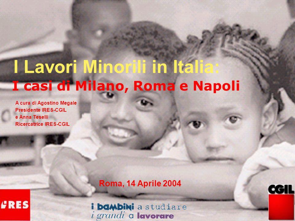2 250 milioni di bambini che lavorano nel mondo 1 bambino su 6 73 milioni hanno meno di 10 anni 127 milioni in Asia 61 milioni in Africa e Medio Oriente 5 milioni nei paesi industrializzati ed Est Europa Fonte: ILO/IPEC 2002 Roma, 14 Aprile 2004