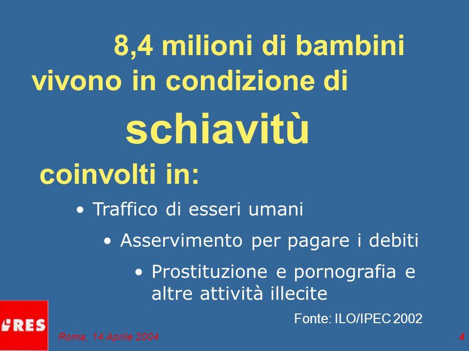 4 8,4 milioni di bambini vivono in condizione di schiavitù coinvolti in: Traffico di esseri umani Asservimento per pagare i debiti Prostituzione e pornografia e altre attività illecite Fonte: ILO/IPEC 2002 Roma, 14 Aprile 2004